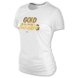 Nike | White Gold Digging Graphic Tee | M | NWOT